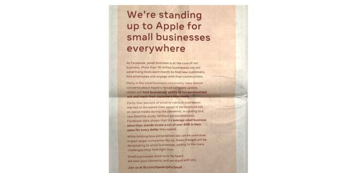 facebook-uses-full-page-newspaper-ad-to-complain-about-apple
