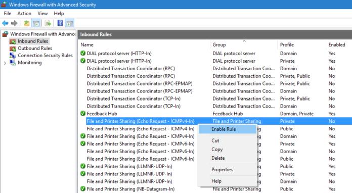 Windows Firewall Allow Ping