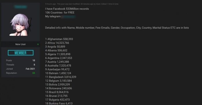 533 Million Facebook Records Were Just Leaked For Free