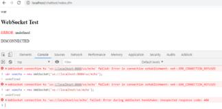 Websocket failed: error net::err_connection_refused