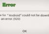 Google Play Error 920