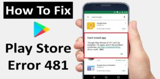 Android Fix: Google Play Error 481