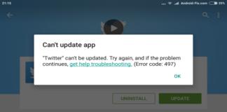 Google Play Error 497