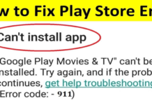 Google Play Error 911