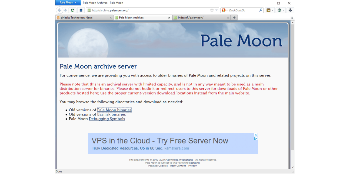 Pale Moon 29.2.0 does not support legacy Firefox extensions anymore that are not ported