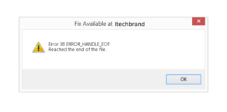 error code 38 reached the end of the file
