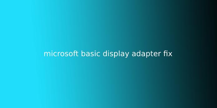 microsoft basic display adapter fix