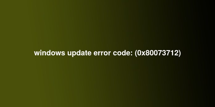 windows update error code: (0x80073712)