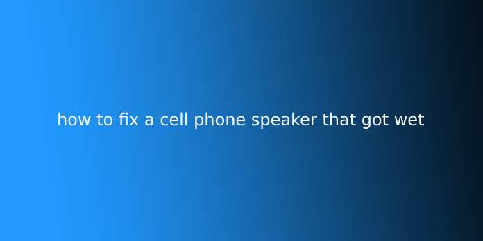 how to fix a cell phone speaker that got wet