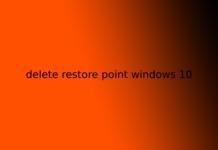 delete restore point windows 10