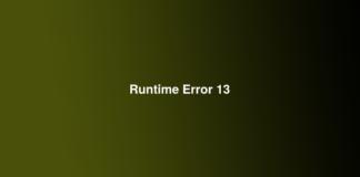 Runtime Error 13