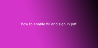 how to enable fill and sign in pdf