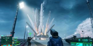 A player in the Battlefield 2042 Beta grabs a rocket and flies into the sky