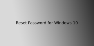 Reset Password for Windows 10